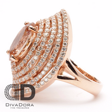 Morganite 14K Solid Rose Gold Diamond Ring