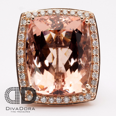 Hand-Made Natural Dark Peach 10.92ct Morganite Ring in 14K Rose Gold