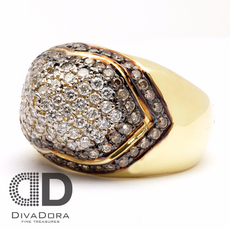 2.03ct White & Brown Chocolate Diamond in 18K Solid Gold Ring