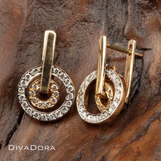 14K Yellow/White Gold Round Diamond Earrings