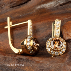 Natural Brown Diamond Earrings in 14K Solid Gold