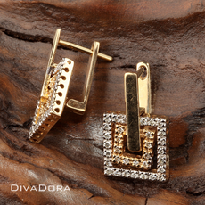 14K Yellow/ White Gold Square Earrings