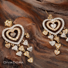 14K Yellow/White Gold Heart Diamond Earrings