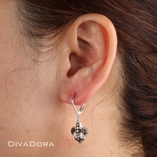 Black & White Diamond Fleur De Lis Earrings in 14K White Gold