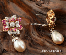Rose & White Gold Diamond/ Pearl Earrings