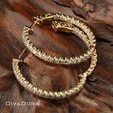 2.30ct Diamond Hoop Earrings in 14K Yellow Gold