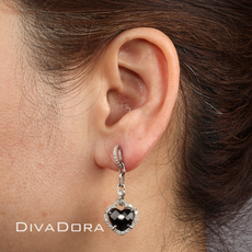 1ct Diamond and Heart Shape Black Onyx Dangle Earrings in 14K White Gold