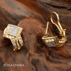 0.72ct Square Modern Diamond Earrings in 14K White and Yellow Gold