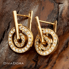 0.55ct Modern Concentric Circle Diamond Earrings in 14K Yellow Gold