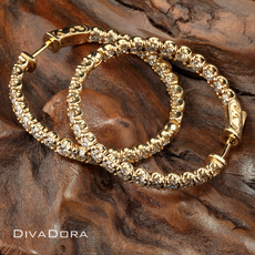 4.75ct Diamond Hoop Earrings in 14K Yelow Gold