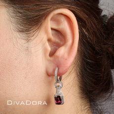 1.10ct Diamond & Pink Tourmaline Dangle Earrings in 14K White Gold