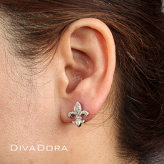 1/4ct Diamond Fleur De Lis Earrings in 14K white gold