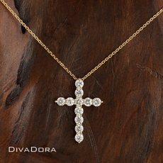1.20ct Diamond Cross Pendant Necklace in 14K Yellow Gold