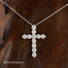 1.20ct Diamond Cross Pendant in 14K White Gold