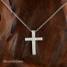 14K White Gold Diamond Cross Pendant Necklace with Chain