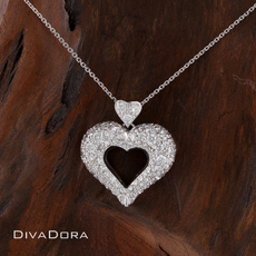 18K White Gold Pave Heart