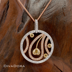 18K Gold Three Tone Diamond Circle Pendant