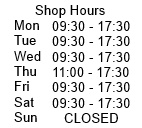 shop hours - Mon-Sat 09:30 - 17:30, Thu 11 - 17:30 / Sun Closed
