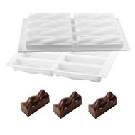Twist Rectangle Logs1 8 Cavity Silicone Mould