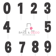 Paper Glitter Number Toppers in Black