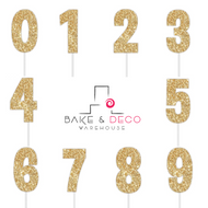 Paper Number Cake Toppers in Glitter Gold