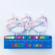 Rainbow and Unicorns Birthday Candle Set