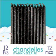 Black Glitter Candle 12pc