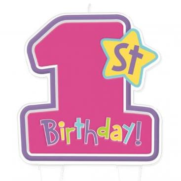 1st Birthday Candle - Girls