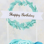 Cake Topper Happy Birthday Bunting & Garland - Blue