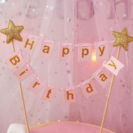 Cake Topper Happy Birthday Bunting - Pink