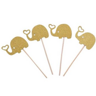 Cupcake Toppers 12pc - Gold Elephants & Hearts