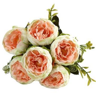 Silk Flowers Peony Ranunculus Spray - CREAM & PEACH
