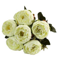 Silk Flowers Peony Ranunculus Spray - CREAM