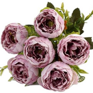 Silk Flowers Peony Ranunculus Spray - DUSTY PINK