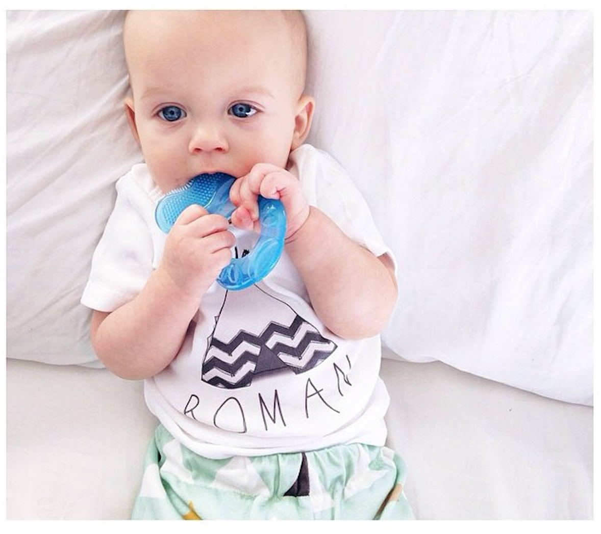 Roman in our Teepee Baby Name Tee (via Instagram @decriscio + @wordonbaby)