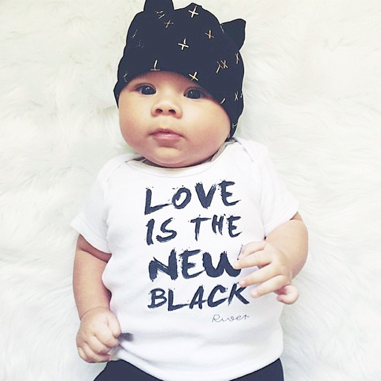 LOVE IS THE NEW BLACK onesie for River - @2princesand1prinny @wordonbaby