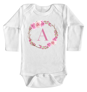 Personalised Initial Floral Wreath Onesie - A