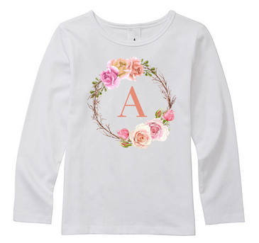 Personalised Initial Girl Top with Vintage Floral Wreath