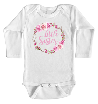 Rose Wreath Little Sister Onesie