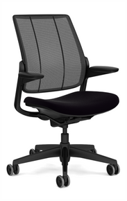 humanscale smart ocean chair black frame with black aluminium trim - black monofilament stripe mesh - black vellum fabric seat - front angle view