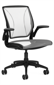 QUICK SHIP Humanscale Diffrient World Chair - Black Frame White Mesh