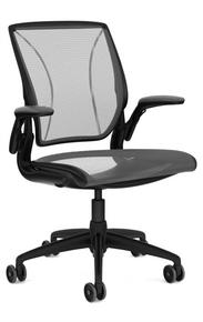 QUICK SHIP Humanscale Diffrient World Chair - Black Frame Black Mesh
