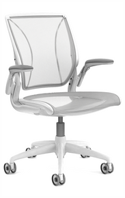 QUICK SHIP Humanscale Diffrient World Chair - White Frame White Mesh