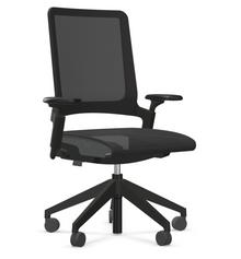 Task Armchair - Black Frame, Black Base, Charcoal Mesh, Grey Lever