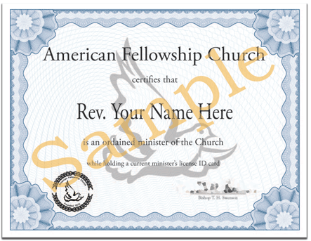 Example of Online Ordination Certificate available from American Fellowship Church