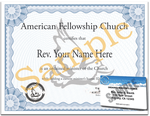 Ordination Certificate and 5 year ID Card Minister License