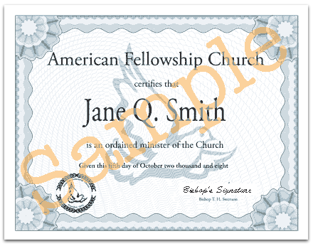 OHIO Certificate of Ordination - with 2 live signatures (For those ...