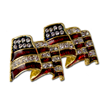 American Flag shaped earrings. Gold-plate with enamel and Swarovski crystals.