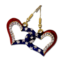 Red and blue enamel adorned with white Swarovski crystals in the shape of a heart.