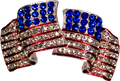 Wear the flag! Silver-plate American flag earrings with diamond like Swarovski crystals.